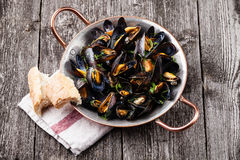 Mussels and French Baguette Stock Photo