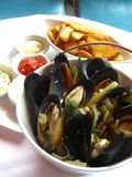 Mussels with French Fries stock photo