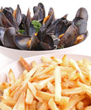 Mussels and frenche fried Stock Photo