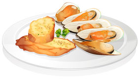 Mussels and garlic bread Royalty Free Stock Photography