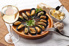 Mussels in garlic butter sauce Royalty Free Stock Images
