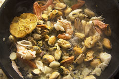 Mussels with garlic royalty free stock photography