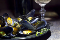 Mussels with glass of white wine and thyme Stock Photos