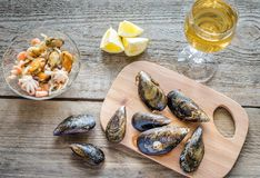 Mussels with a glass of white wine on the wooden table Stock Photos