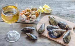 Mussels with a glass of white wine Stock Photo