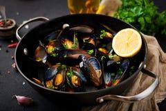 Mussels gotujący w wino kumberlandzie z ziele w smaży niecce zdjęcie stock