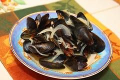 Mussels i cebule Obraz Stock