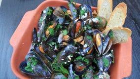 Mussels i wino Zdjęcie Stock