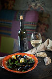 Mussels on ice ready to cook with lemon and white wine jpg Royalty Free Stock Photography