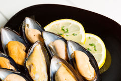 Mussels with lemon Stock Photos