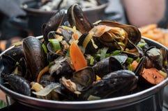 Mussels marinara in a restaurant Stock Photo