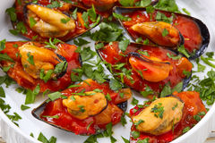 Mussels with marinara sauce tapas pinchos Royalty Free Stock Images