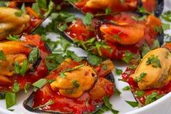 Mussels with marinara sauce tapas pinchos Stock Photos