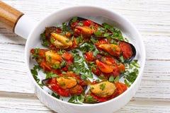 Mussels with marinara sauce tapas pinchos Royalty Free Stock Image