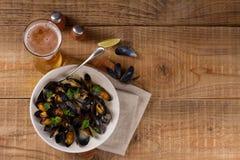 Mussels na talerzu Zdjęcia Royalty Free
