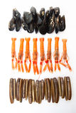 Mussels, Norway Lobsters and Razor shells. Varied seafood. Stock Photos