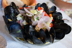Mussels with onions Stock Images