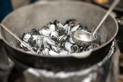 Mussels on the pan Royalty Free Stock Image