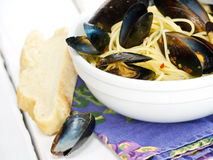 Mussels and Pasta Royalty Free Stock Image