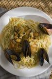 Mussels pasta closeup Stock Image