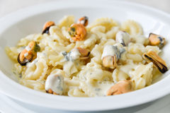 Mussels pasta Stock Photo