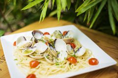 Mussels with pasta dish Royalty Free Stock Photos