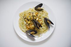 Mussels pasta with large shells Stock Images