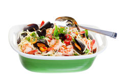 Mussels And Pasta. Seafood dish with mussels,shrimp and spaghetti Stock Photography