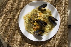 Mussels pasta with shells outdoors Stock Photos