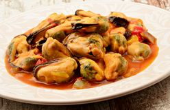 Mussels in  a plate Stock Images