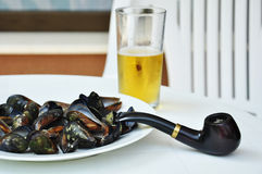 Mussels on a plate. With glass o� beer and tobacco pipe Stock Images