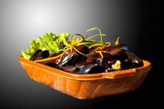 Mussels on the plate. Delicious dish with mussels Royalty Free Stock Image