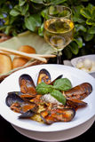 Mussels on plate Stock Image