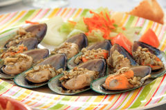 Mussels on plate Stock Photos