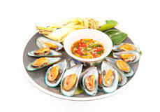 Mussels on a plate Royalty Free Stock Images