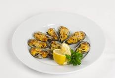 Mussels pod serem Fotografia Royalty Free