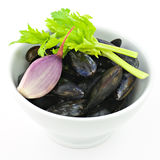 Mussels preparation royalty free stock photography