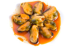 Mussels in red sauce Royalty Free Stock Photo