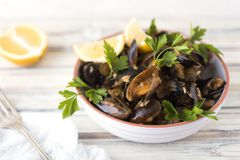 Mussels with rice Stock Image