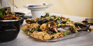 Mussels with rice on the plate Royalty Free Stock Images