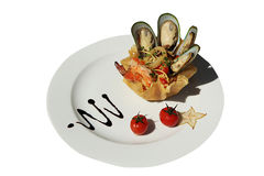 Mussels salad with cheese and shrimps Royalty Free Stock Photography