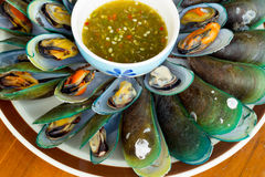 Mussels with sauce tasty Royalty Free Stock Photo