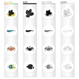Mussels, sea whale, crab, fish clown.Sea animal set collection icons in cartoon black monochrome outline style vector. Symbol stock illustration Royalty Free Stock Photos