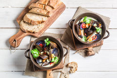 Mussels in shells with garlic and red peppers served with bread Royalty Free Stock Photo