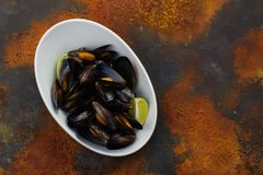 Mussels in white bowl Stock Photos