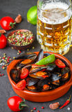 Mussels in shells with tomatoes and spicy sauce Stock Images