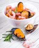 Mussels and shrimp Royalty Free Stock Photos