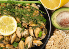 Mussels in a simple rustic table. Stock Photo