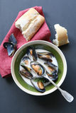 Mussels soup with saffron Stock Photo