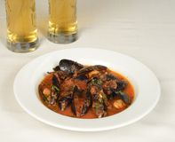 Mussels soup with tomato sause Stock Photo